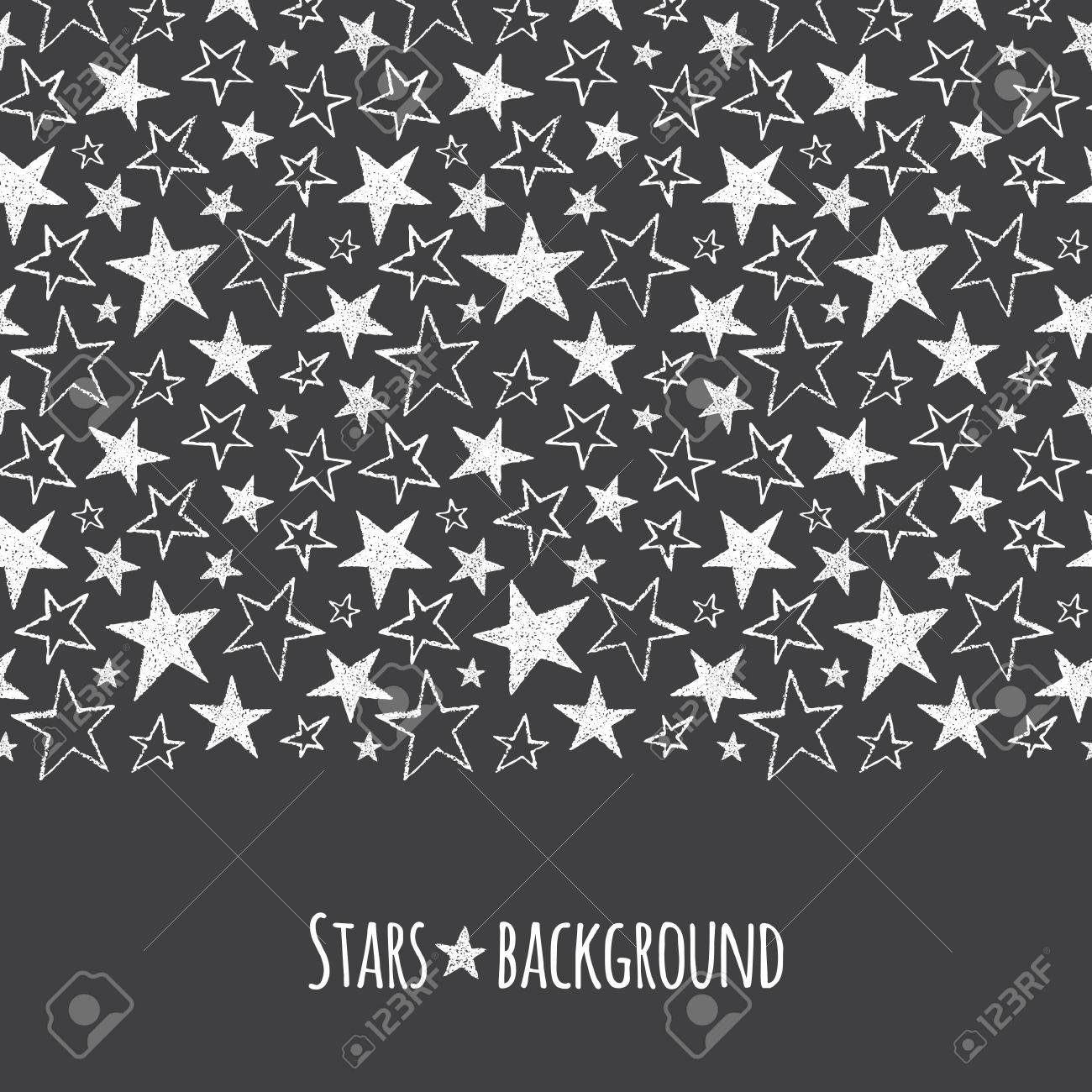 stars border seamless in horizontal direction brush or chalk