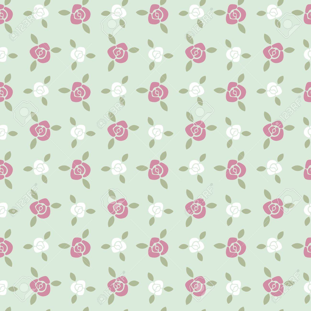 Tiny Roses With Leaves Seamless Pattern Simple Floral Background