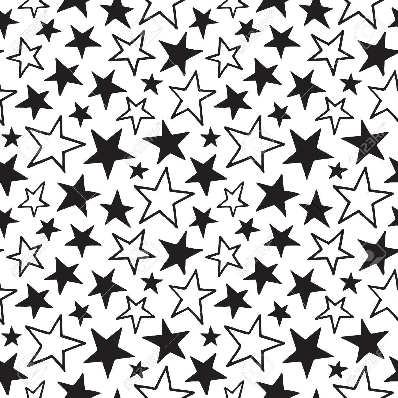 Doodle Style Stars Of Different Size Seamless Pattern Black And White Cosmic Space Background