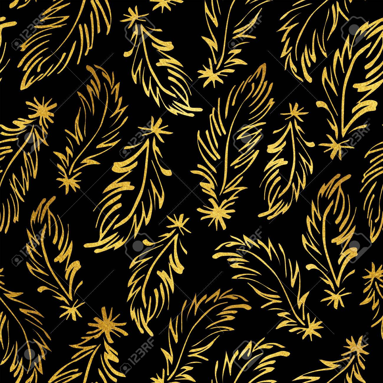Black and gold feathers