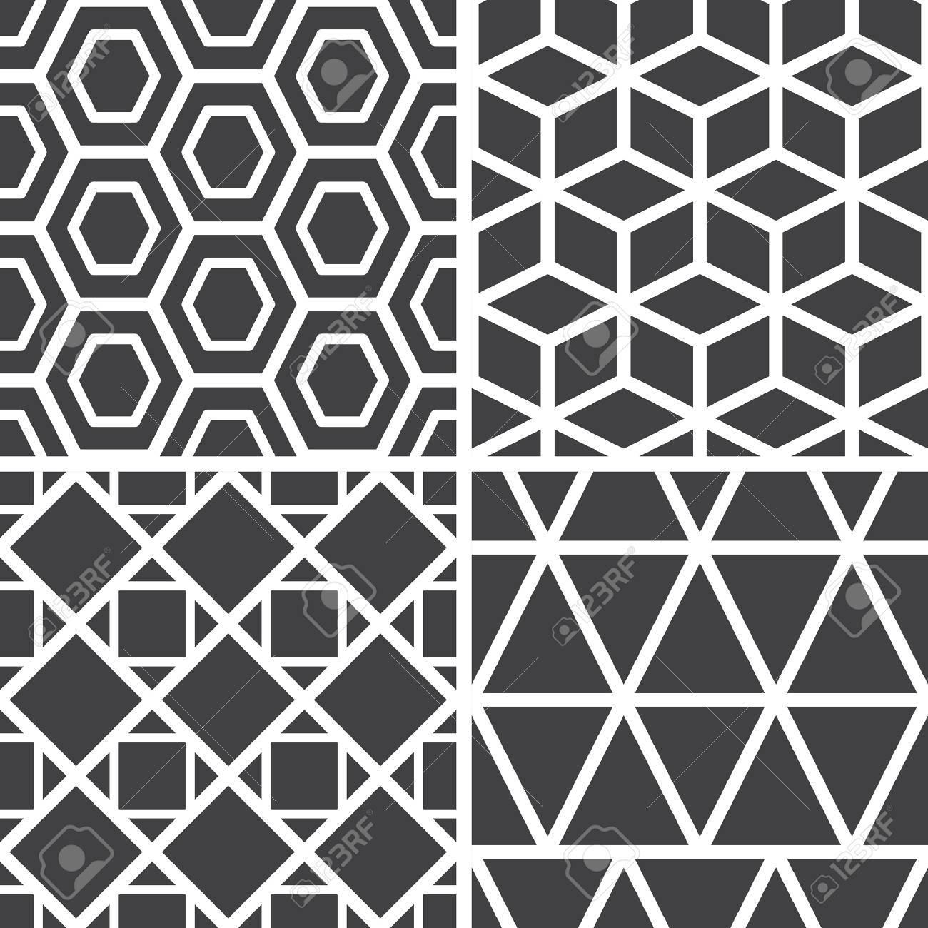 Disegni Geometrici Bianco E Nero serie di semplici motivi geometrici senza soluzione di continuità in bianco  e nero vettore. poligoni, cubi, quadrati, triangoli. in bianco e nero