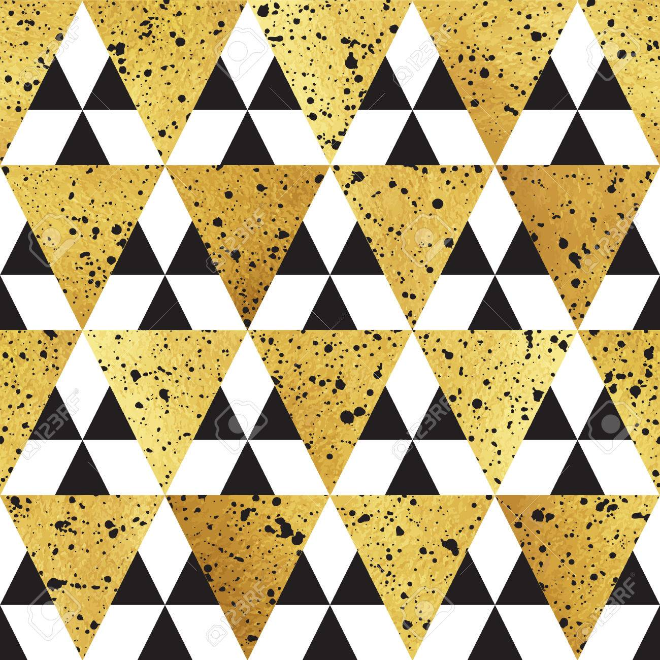 Gold Triangles With Black Splash Texture Seamless Vector Pattern