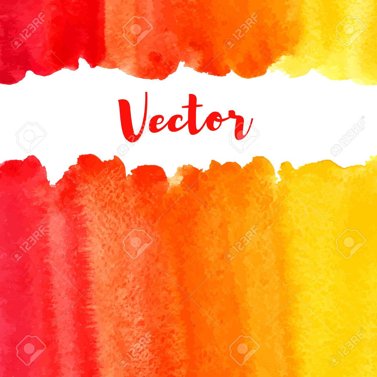 Watercolor vector background with space for text. Frame or border made of striped watercolour gradient fill - orange, red, yellow. Brush drawn texture. Fire, tropical colors. Artistic uneven edge. - 62931542