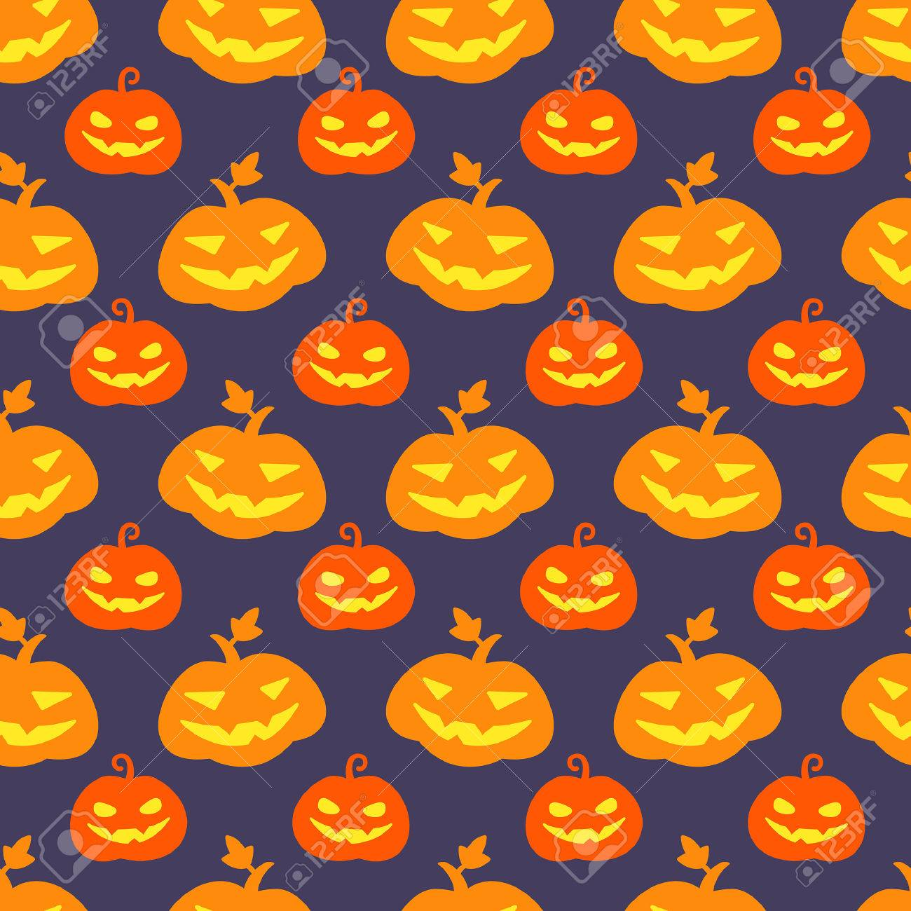 Halloween Pumpkin Seamless Vector Pattern Cute And Funny Jack Royalty Free Cliparts Vectors And Stock Illustration Image 62931568