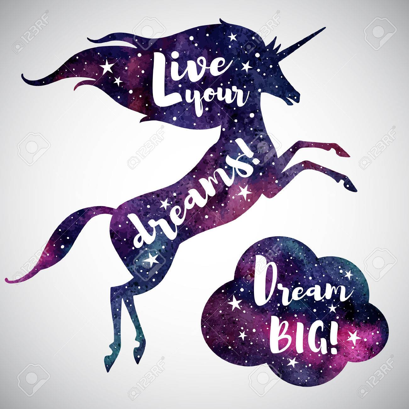 live your dreams watercolor unicorn silhouette cloud and