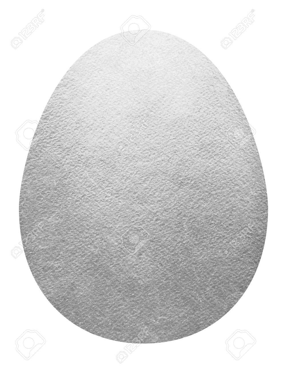 Big Silver Egg Shape Isolated On White Easter Template Or
