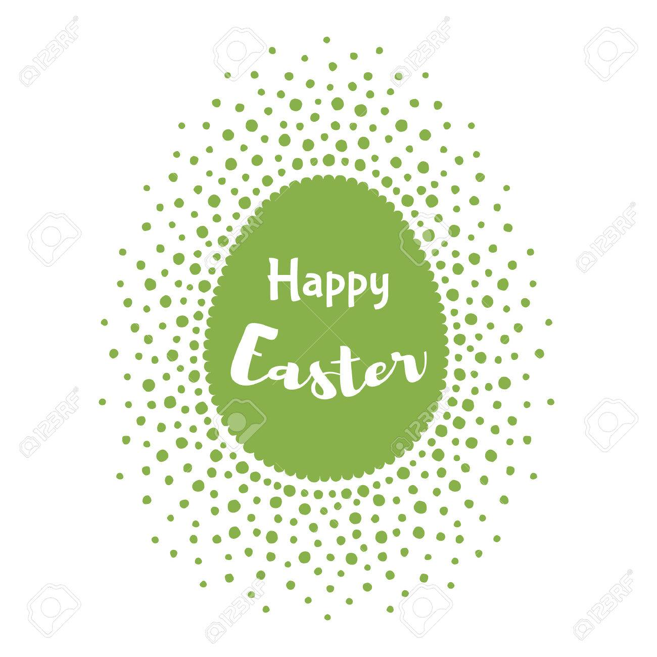 Happy Easter Greeting Card Template Egg Shape Frame Made Of