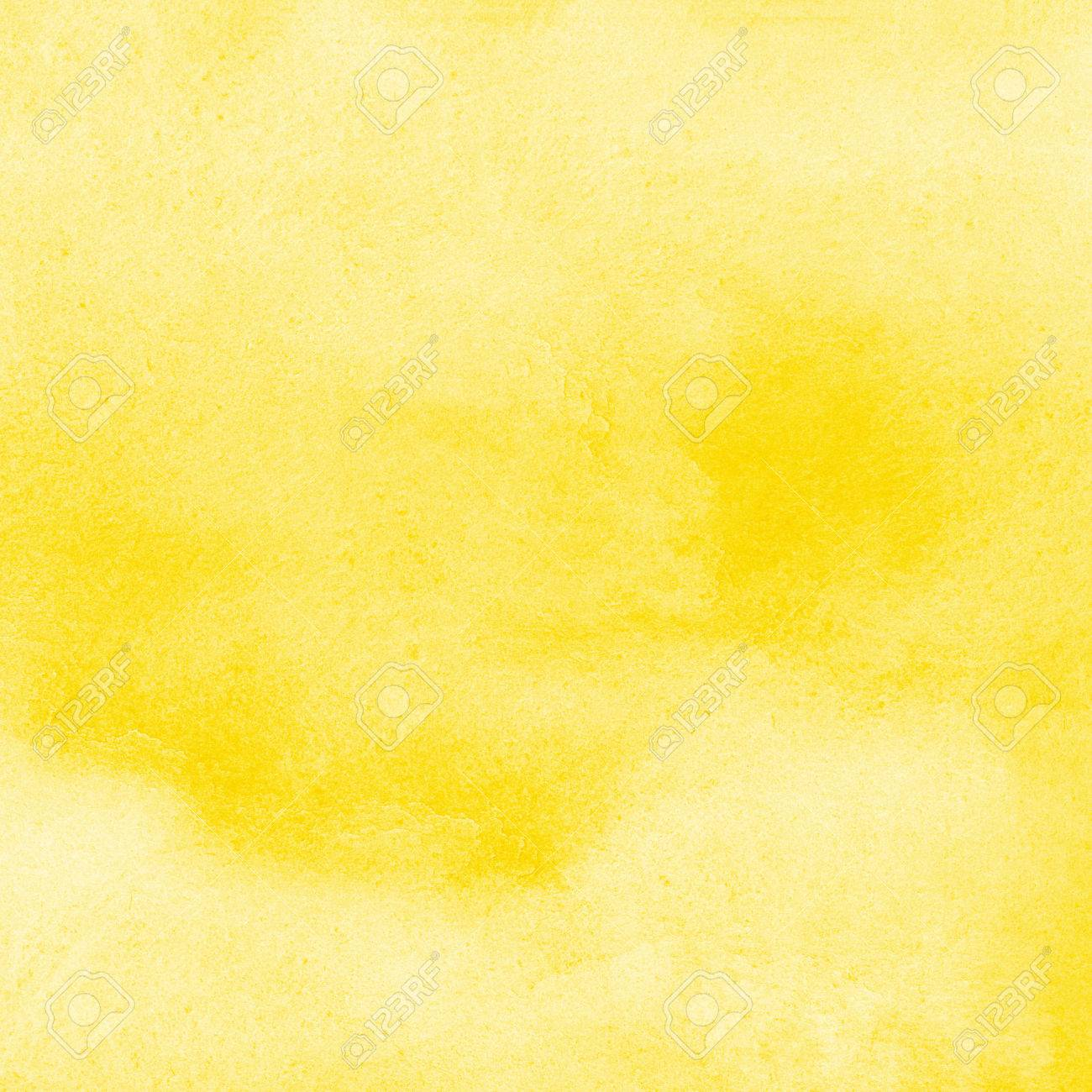Yellow watercolor square background with stains. Watercolour texture. Hand drawn abstract aquarelle fill. Template for cards, banners, posters. - 74355172