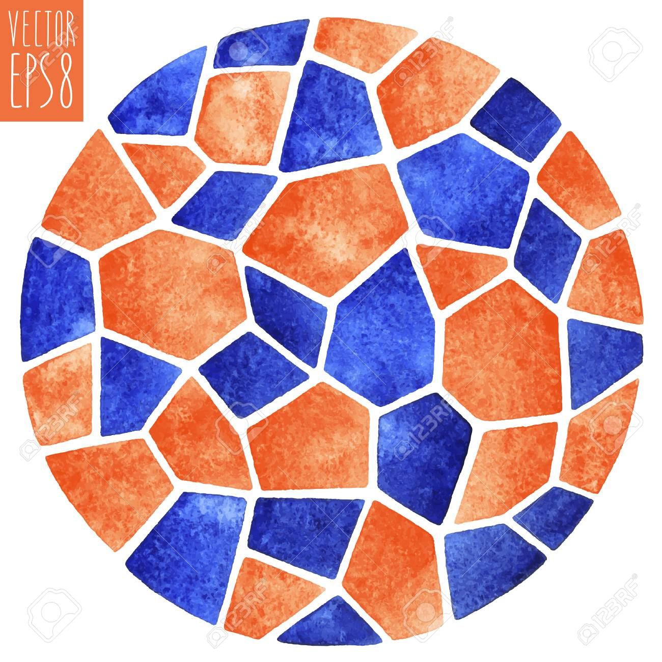 Abstract vector watercolor background round polygonal mosaic abstract vector watercolor background round polygonal mosaic pattern ceramic tile inlay or stained dailygadgetfo Image collections