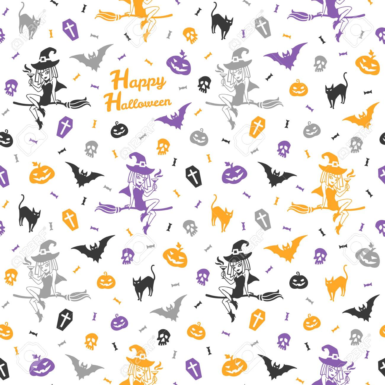 Happy Halloween Seamless Repeat Vector Pattern With Greeting Royalty Free Cliparts Vectors And Stock Illustration Image 128223701