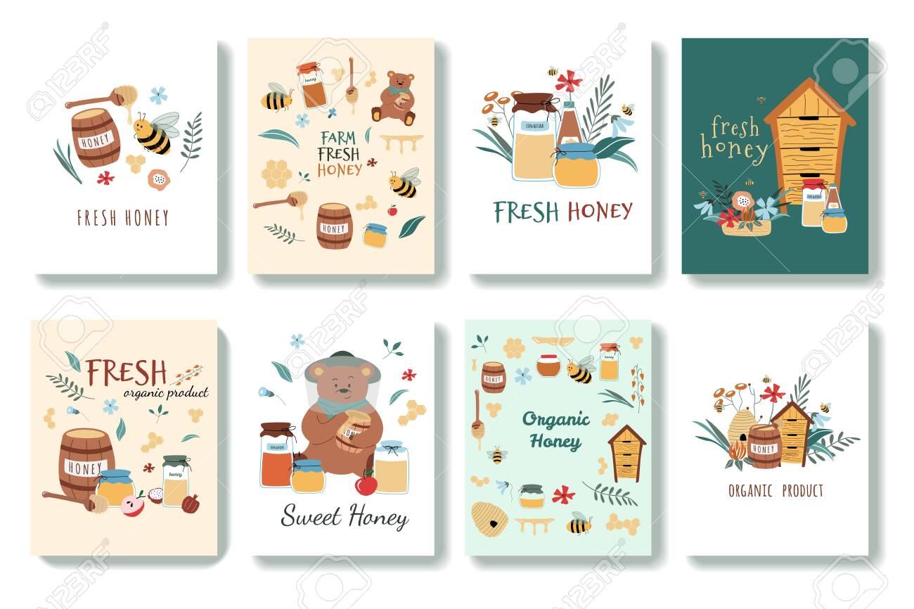 Set of cute postcards in cartoon style. There are bees, fresh honey, jars, hive, honey spoon, flowers, bear, honeycomb. Hand drawn vector illustration. Isolated on background. - 149551881