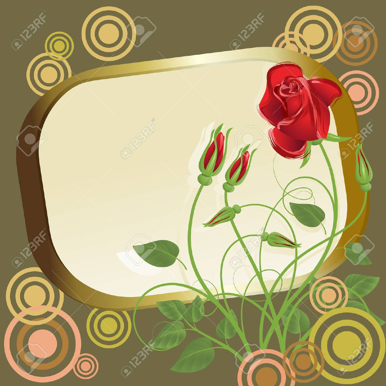 8dc9457b9375 Abstract Red Roses With Gold Frame And Circles Royalty Free Cliparts ...