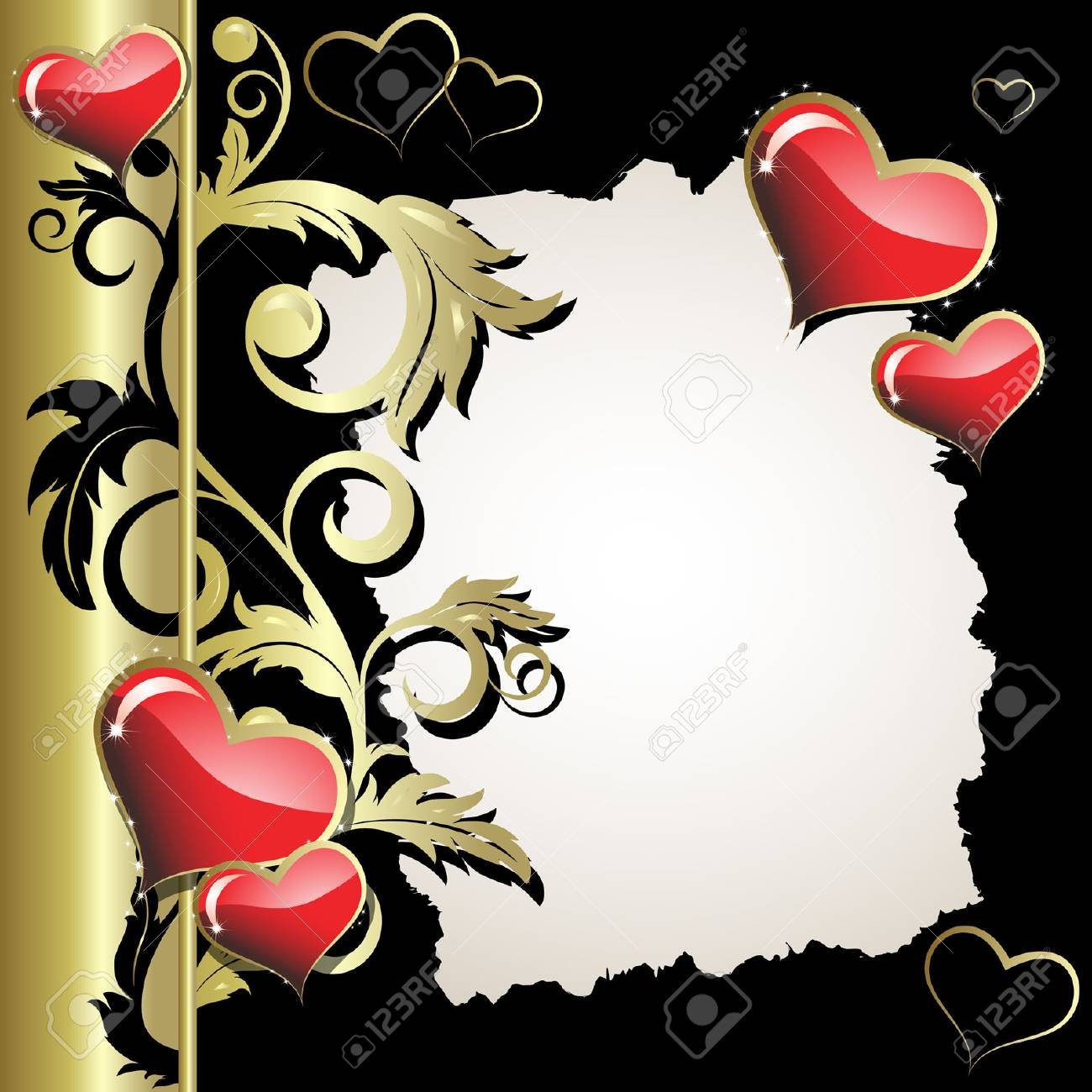 Hearts with a gold branch on a black background Stock Vector - 3868465