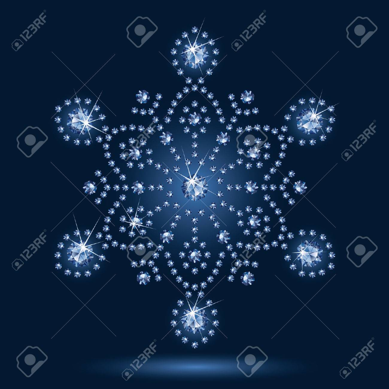 Snowflake diamond on a black background Stock Vector - 5535716