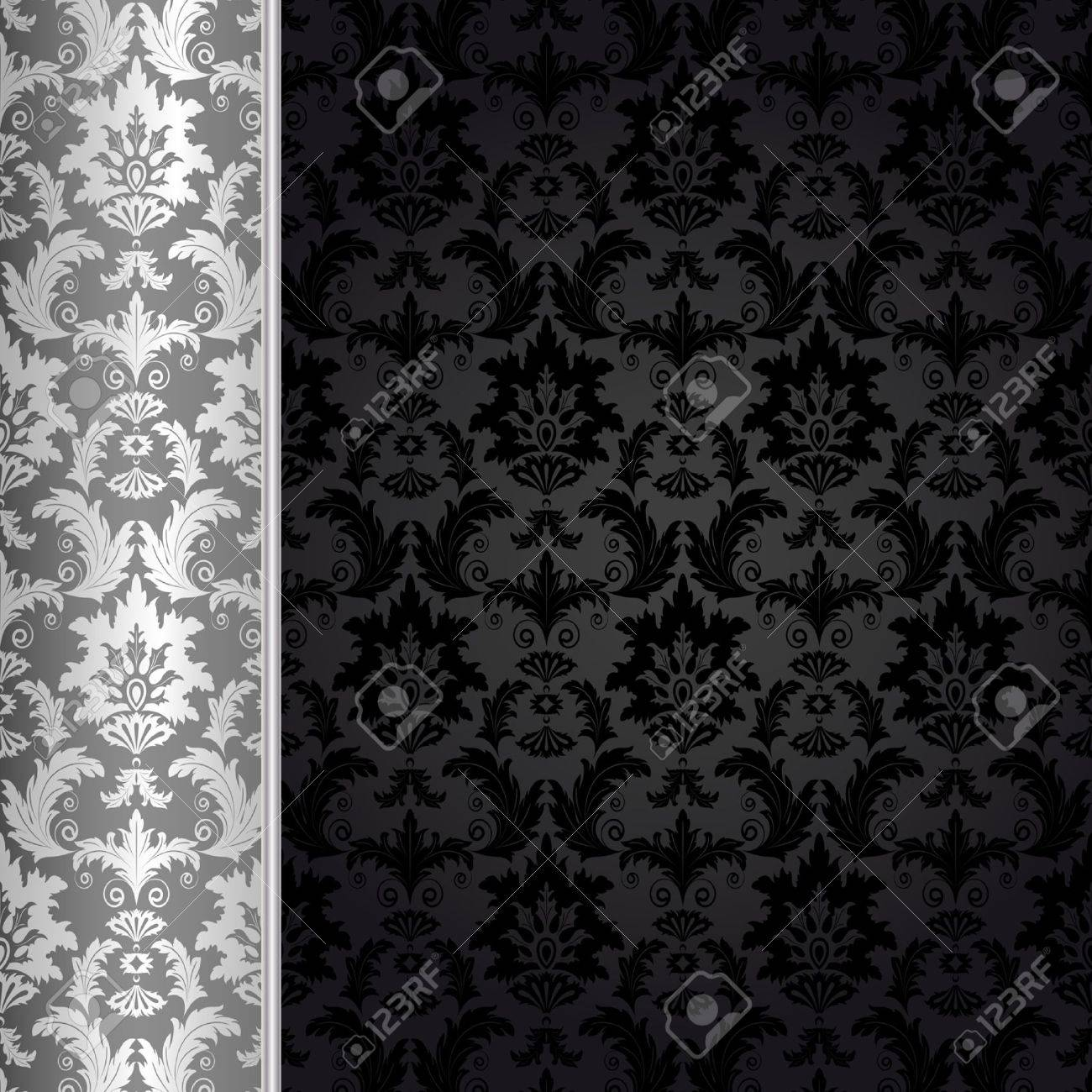 Background with silver flowers and leaves Stock Vector - 5600886