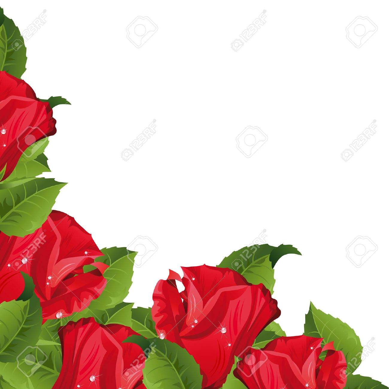 White background with red roses.  Clipping Mask Stock Vector - 5962580