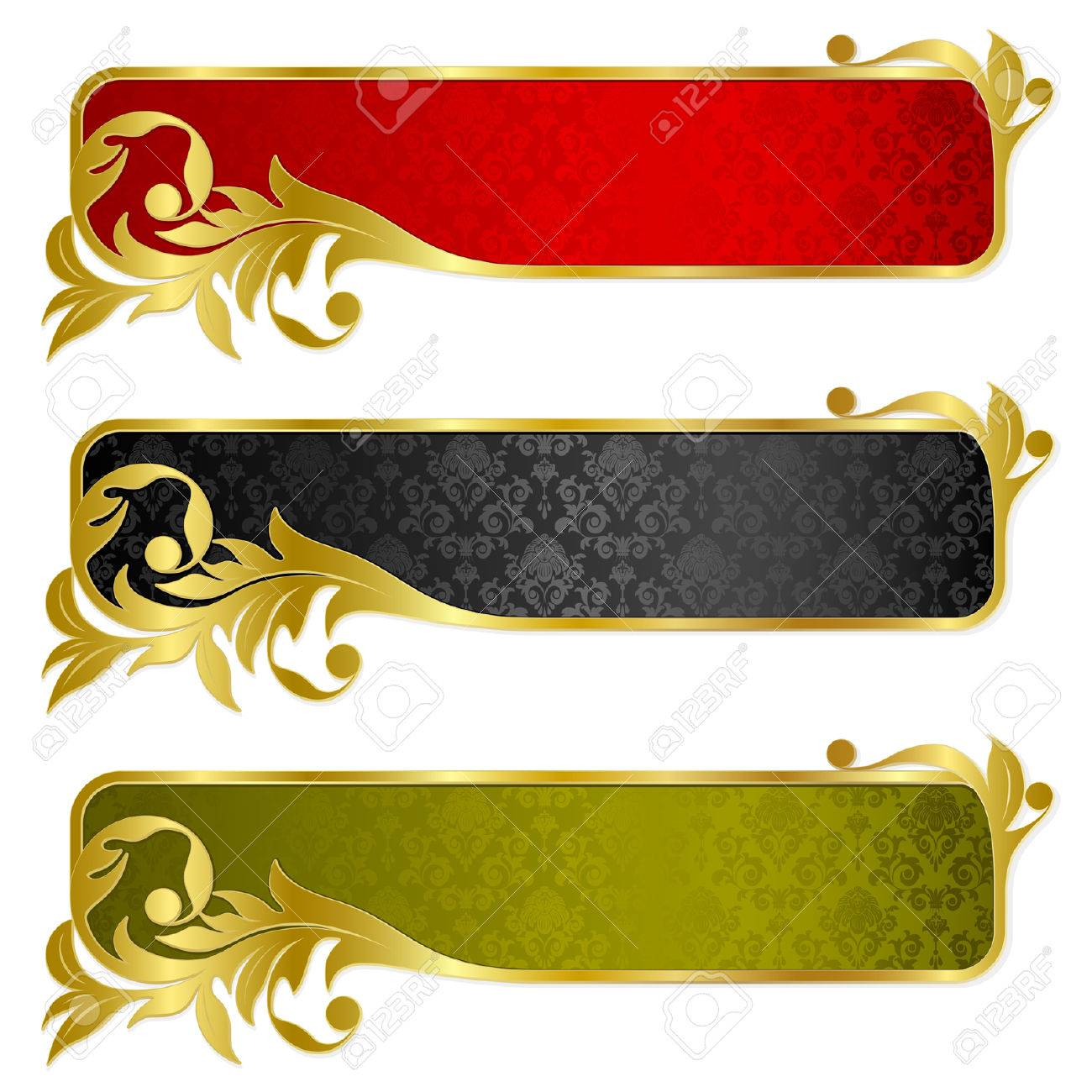 Set from  banners with gold frame Standard-Bild - 6071379