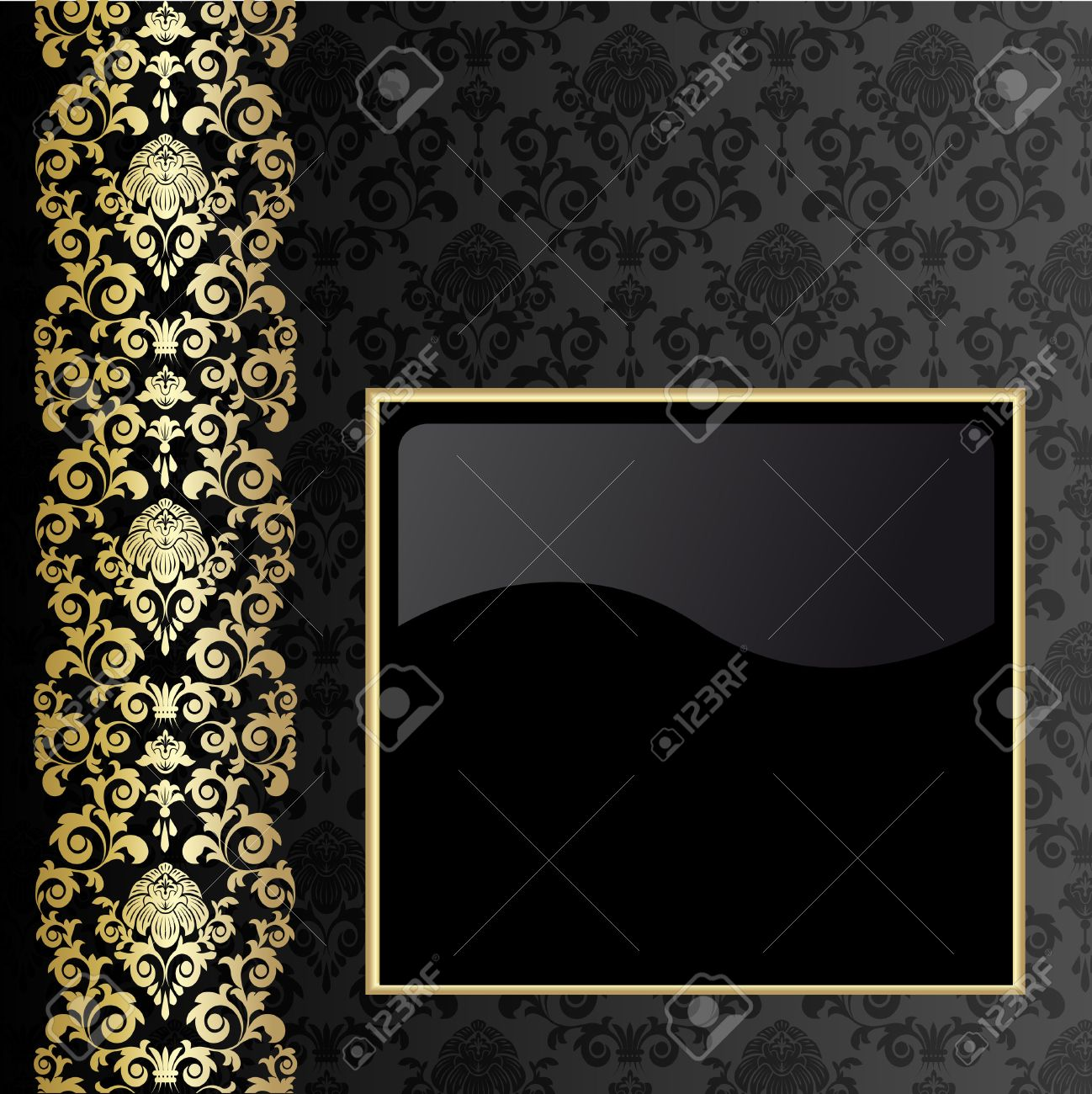 Black Background With Flowers And Leaves And Gold Frame Royalty