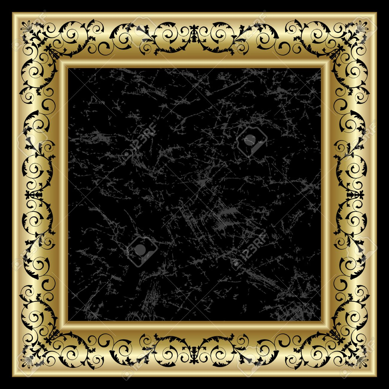 Gold frame on the black background Stock Vector - 7201739