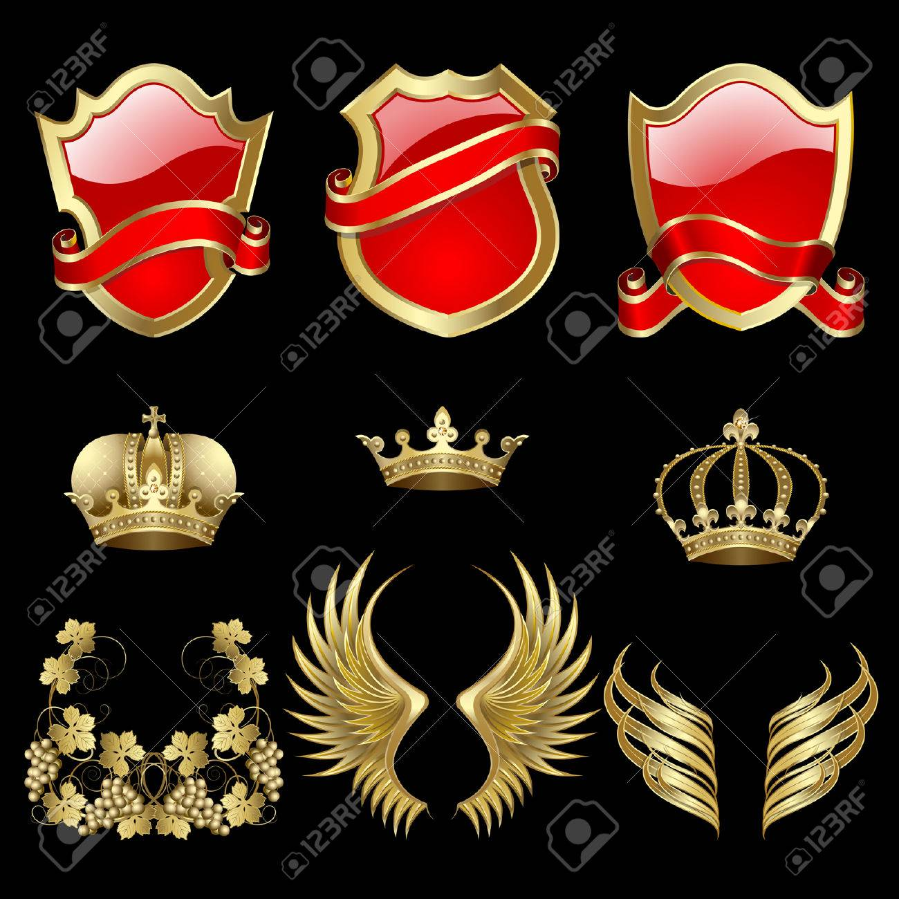 Set of heraldic gold and red design elements Stock Vector - 7675536