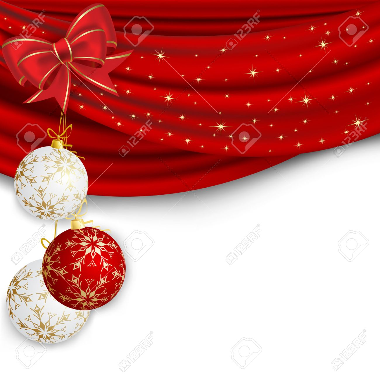 Christmas background with red curtain and ball Stock Vector - 8105519