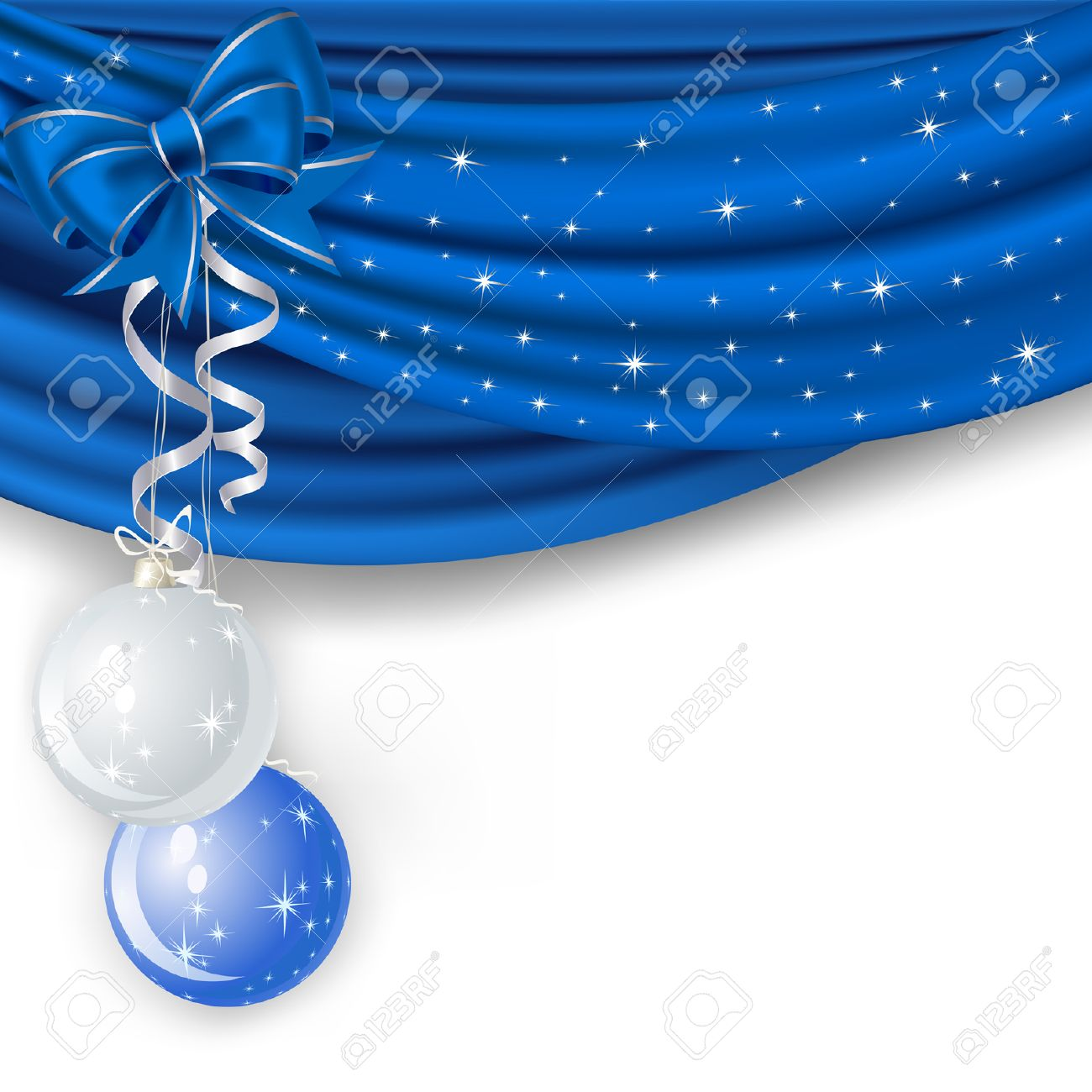 Christmas Background With Blue Curtain And Balls Royalty Free ...