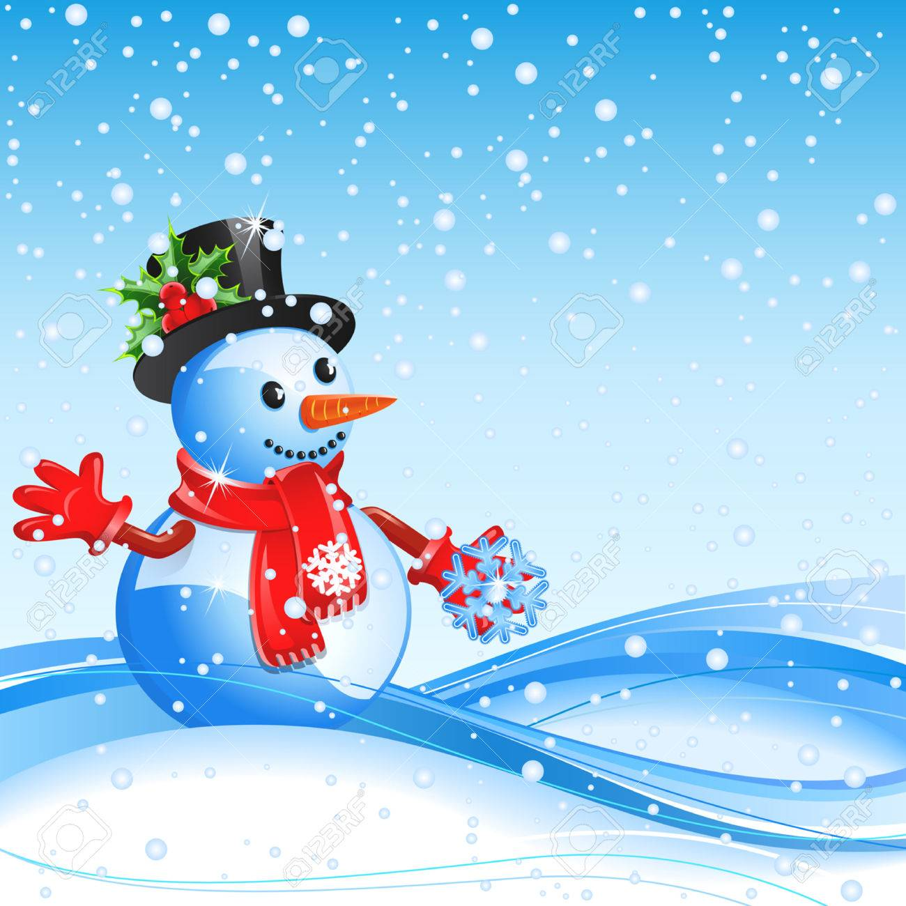 Blue christmas background with  snowman and snowflake Stock Vector - 8197509