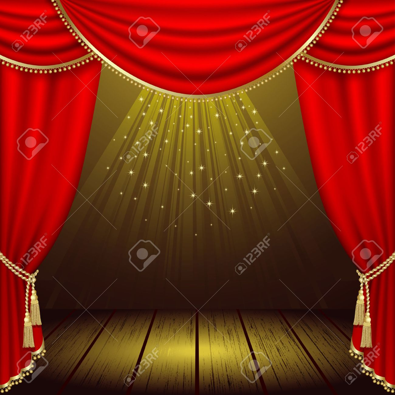 Theater podium met rood gordijn royalty vrije cliparts, vectoren ...