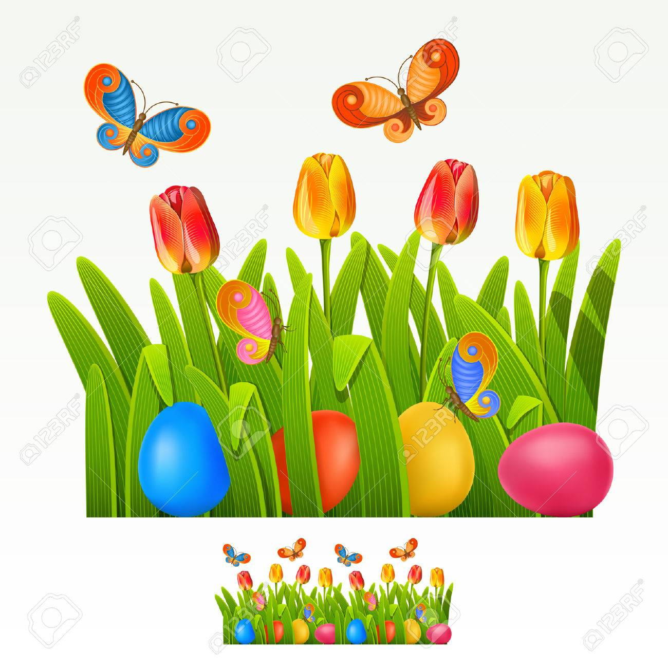 Easter border with egg decorated and tulips (can be repeated and scaled in any size) Stock Vector - 8892248
