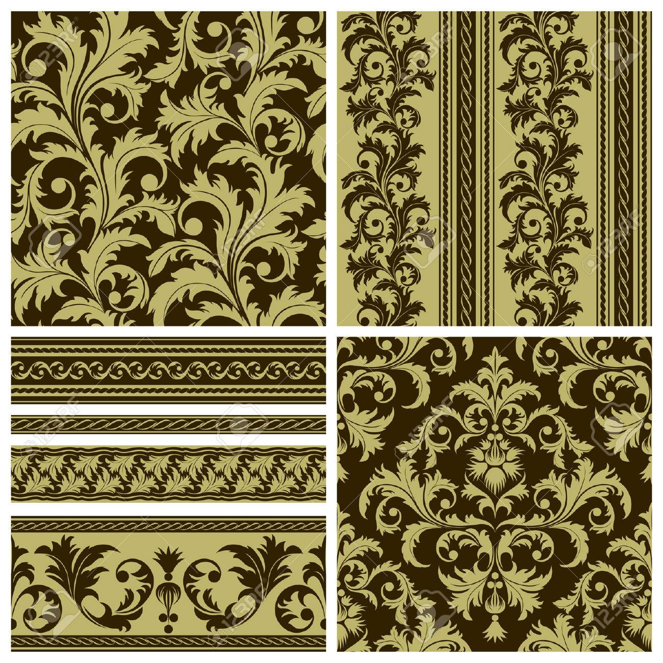 Set of seamless and borders from abstract brown plant(can be repeated and scaled in any size) Stock Vector - 9098905