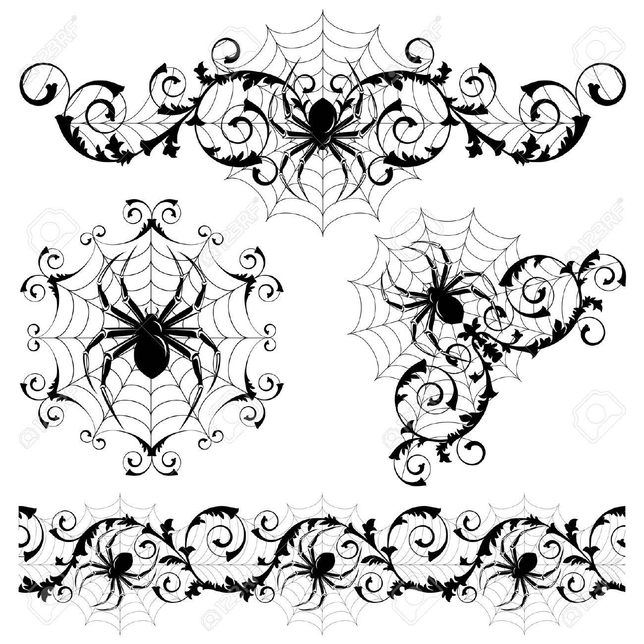 Web Spider Vector Set With a Spider's Webs And