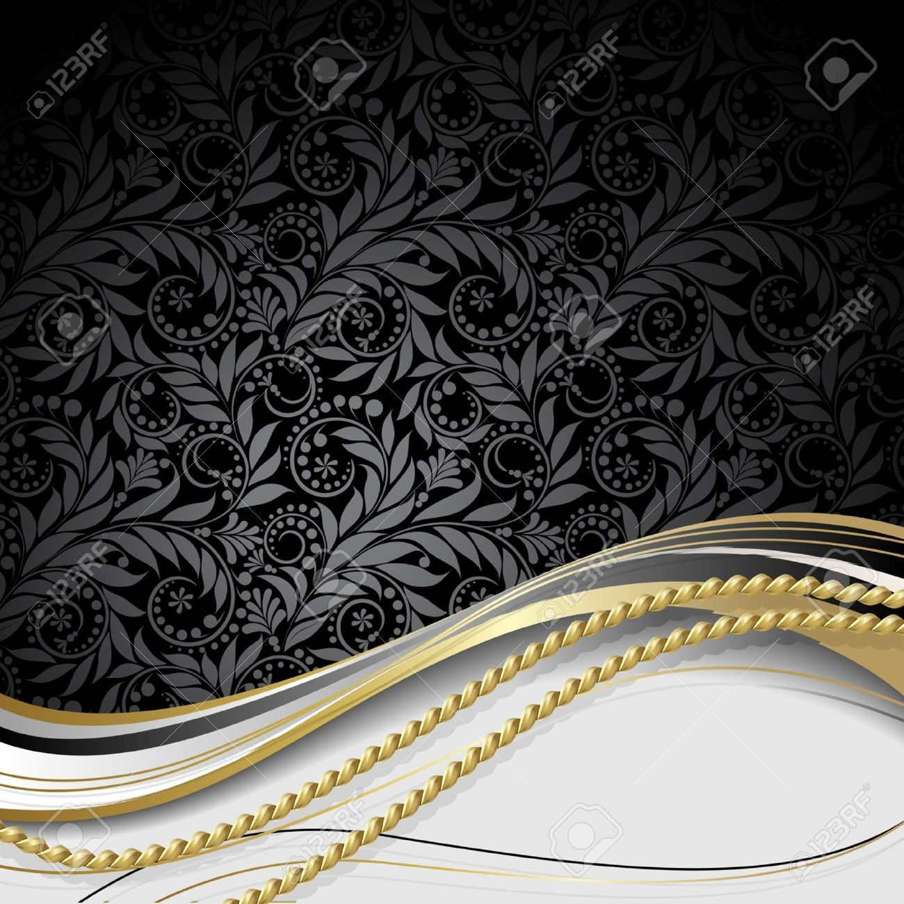 Black background with flowers and leaves and gold rope. - 9567686