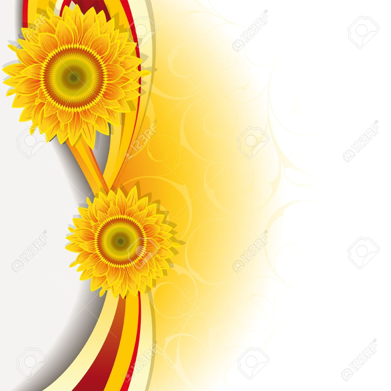 Orange background with a wave and sunflowers. - 9692044