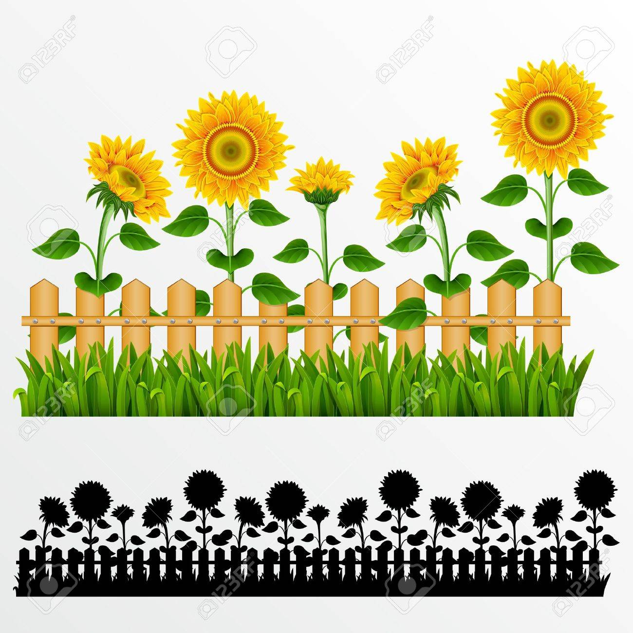 Border with sunflowers and fence.(can be repeated and scaled in any size) - 9828102