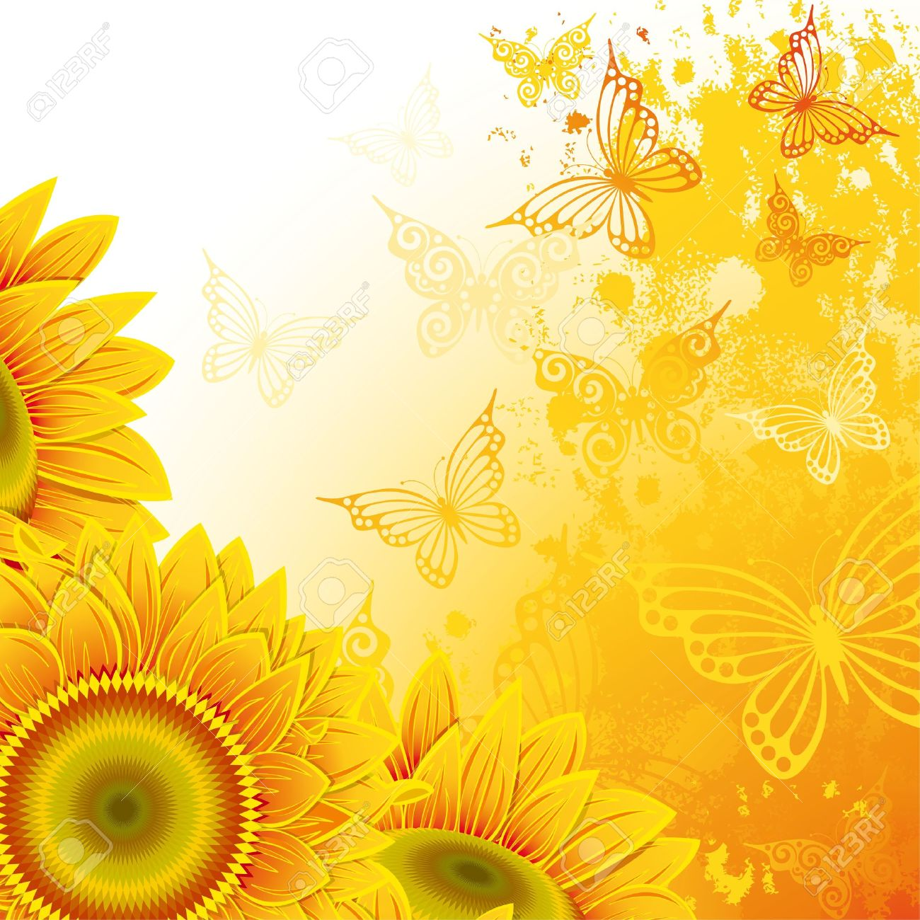 Orange background with sunflowers and butterflies - 9828098