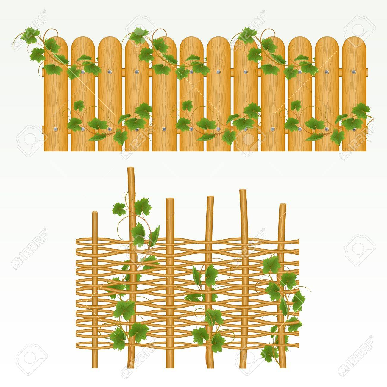 Border with fence and grass green. (can be repeated and scaled in any size) - 9828119