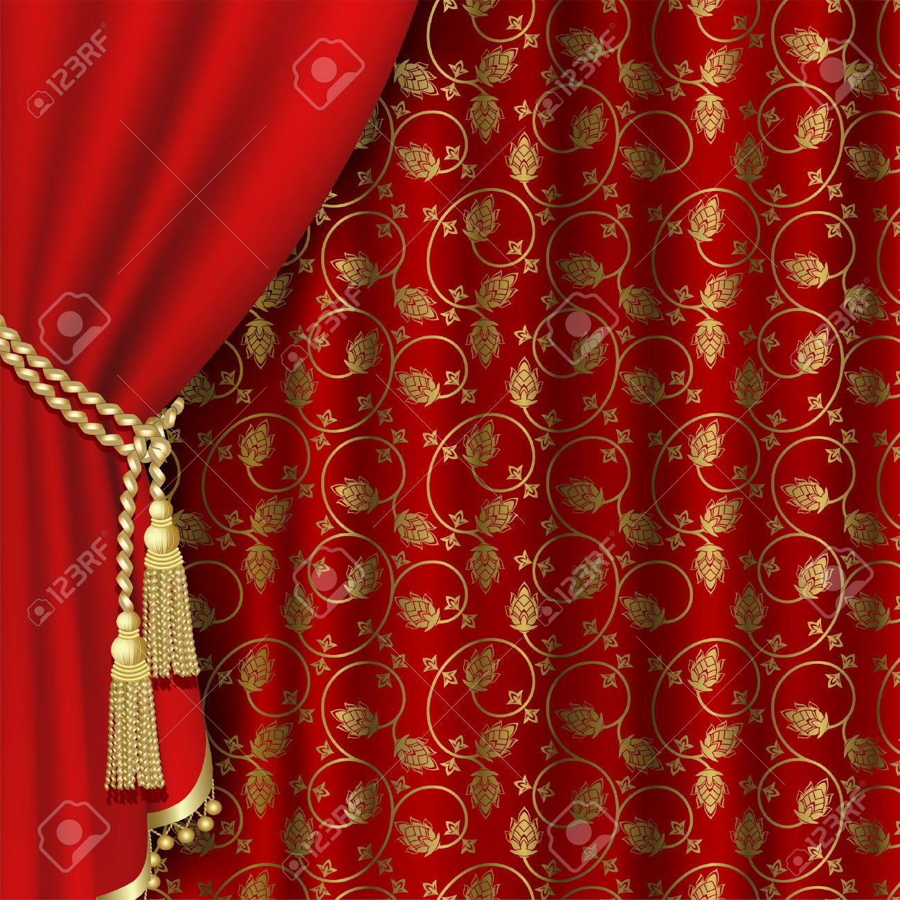 Red Curtain With Gold Pattern Royalty Free Cliparts Vectors And