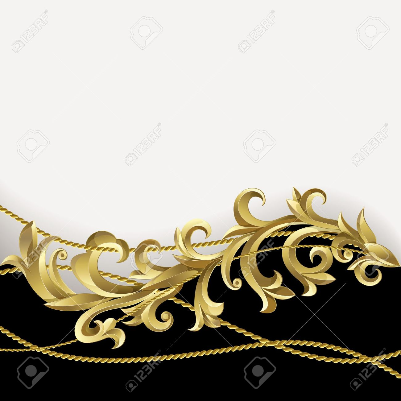 Black background with gold plants and rope. Stock Vector - 10107071