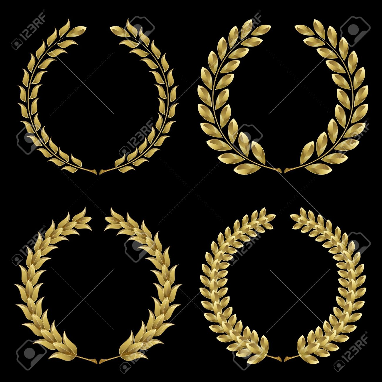 Set from  gold laurel wreath on the black background Stock Vector - 10199744