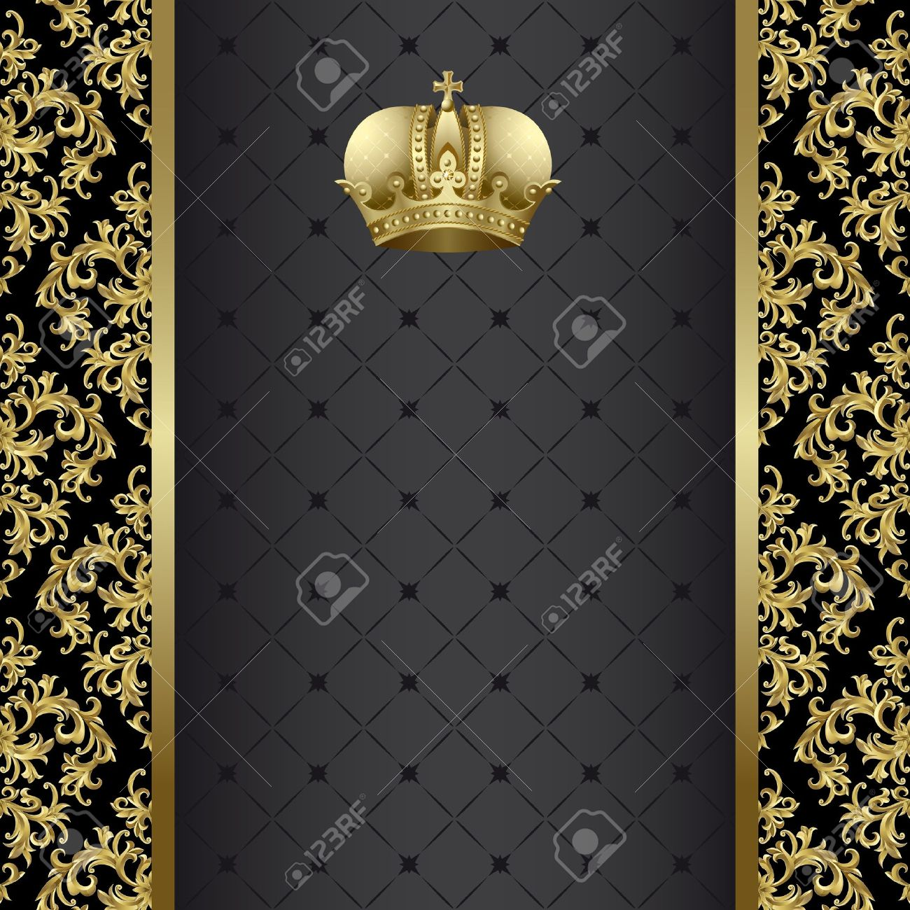 Black background with gold abstract plant and crown - 10199747