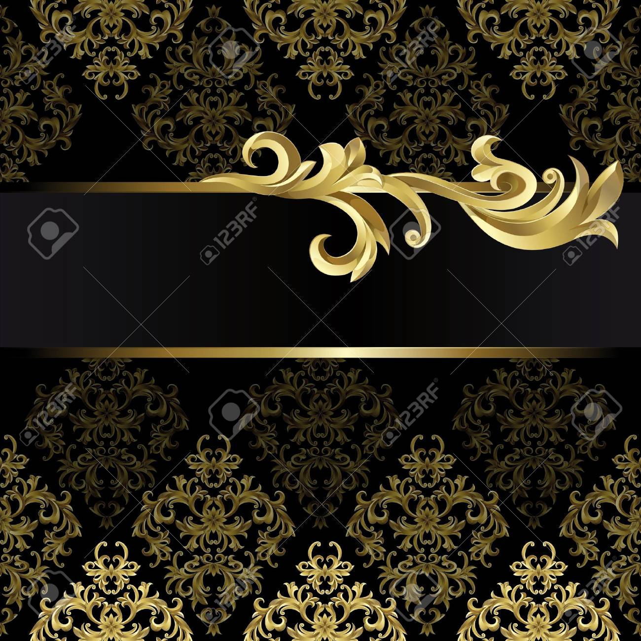 Black background with gold frame from abstract plant - 10199748