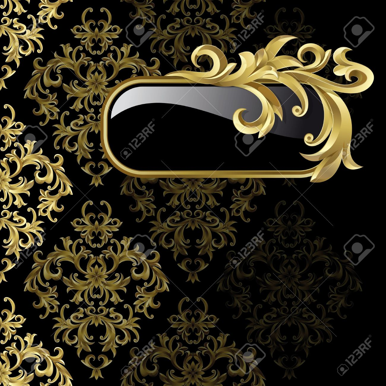 Black background with gold frame from abstract plant - 10199745