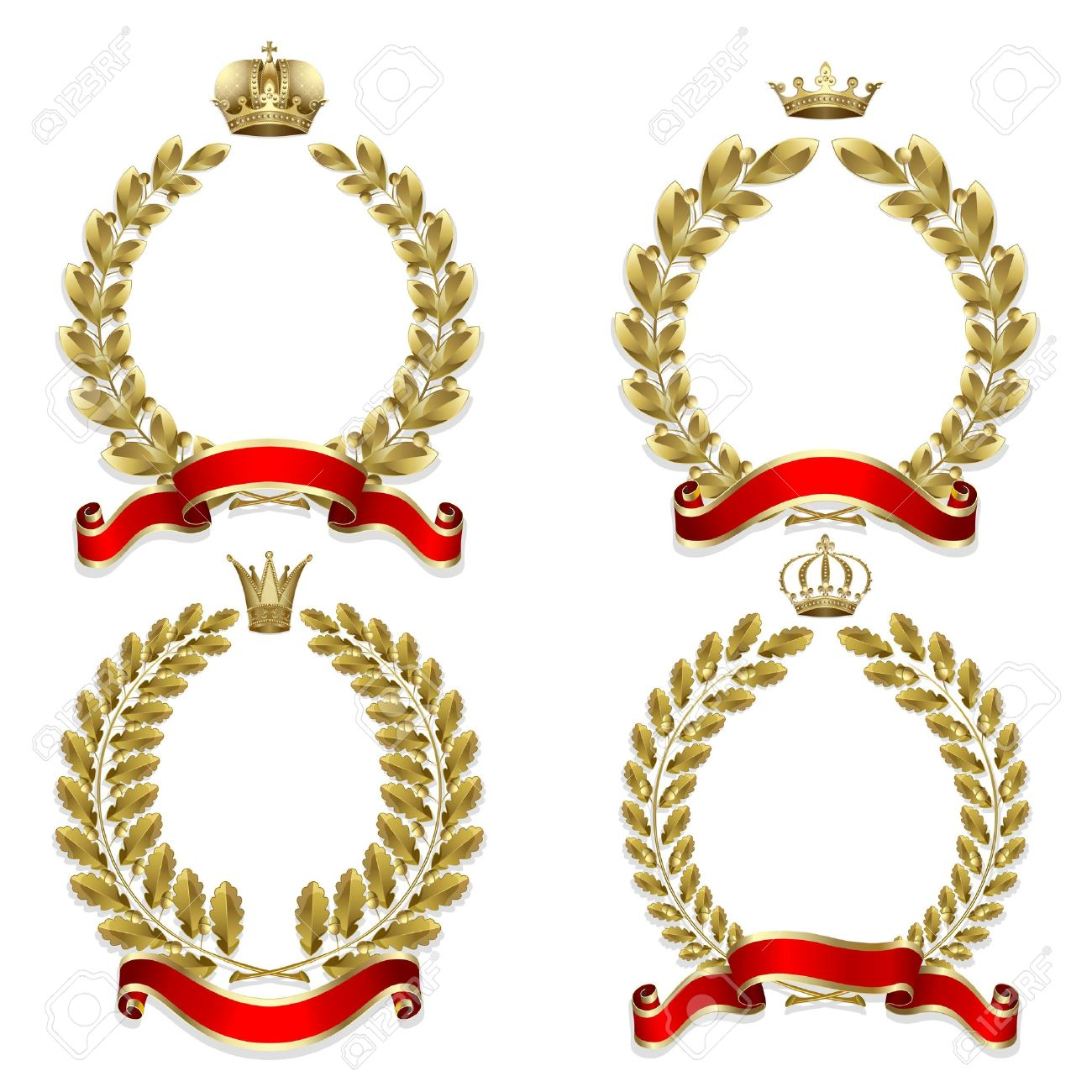 Set from gold laurel and oak wreath on the white background - 10481593