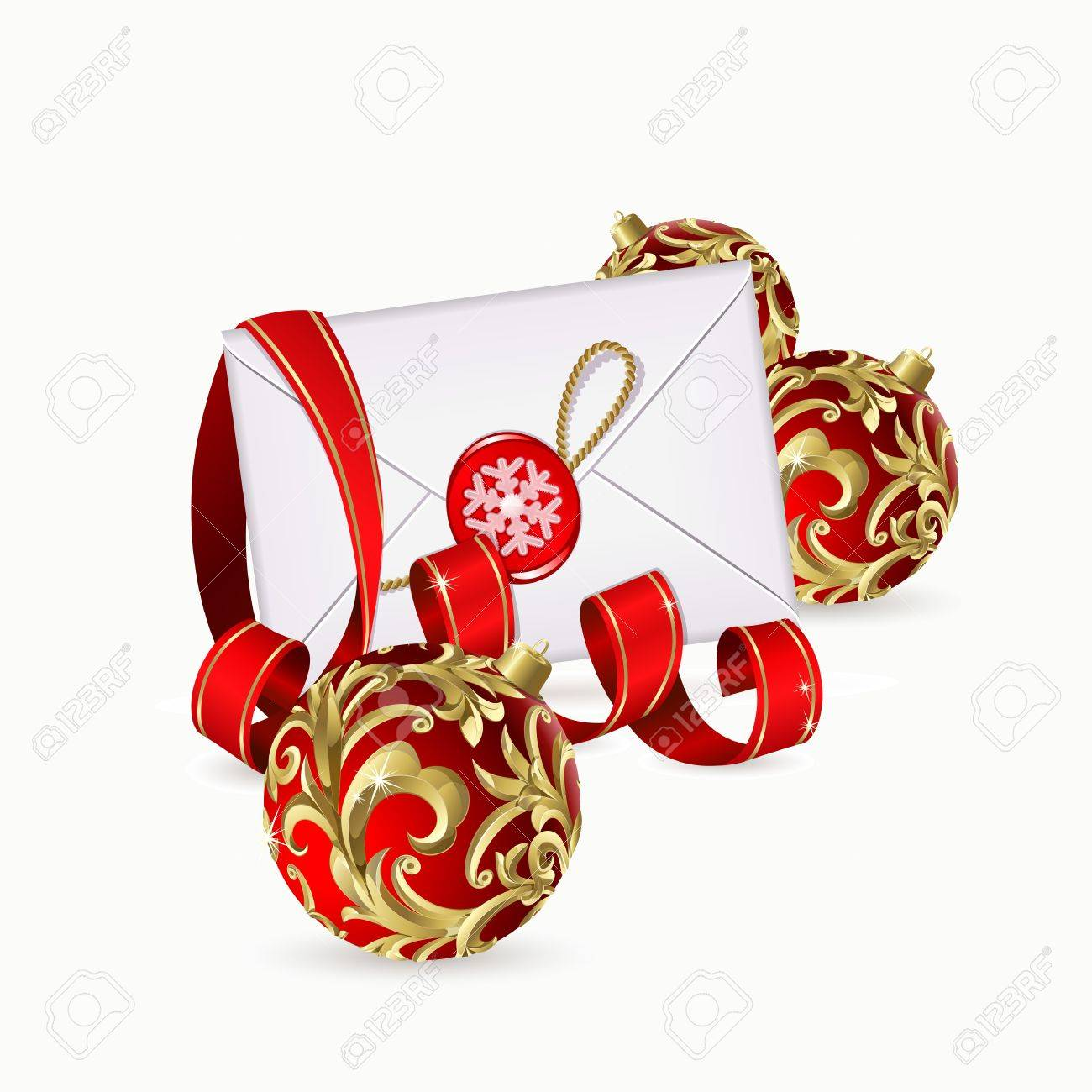 Christmas Background With Red Balls, Ribbon And Envelope Royalty ...