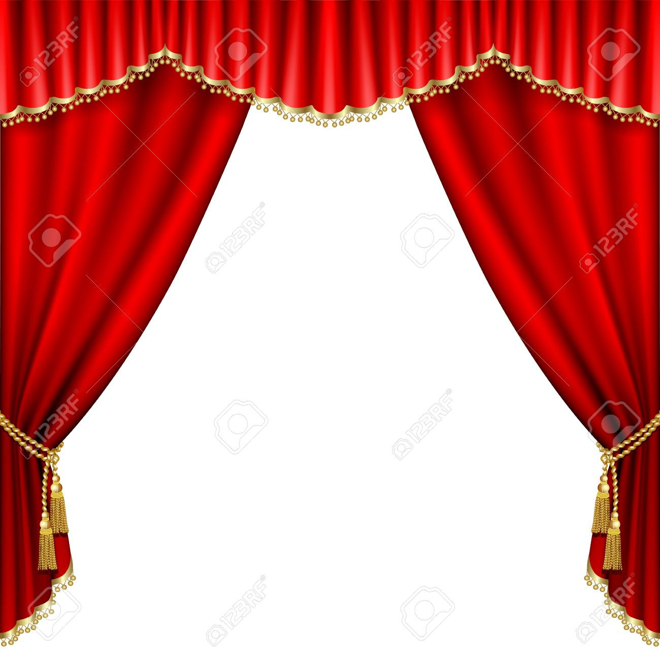 Theater curtains download free vector art stock graphics amp images - Curtains Theater Stage With Red Curtain Isolated On White Illustration