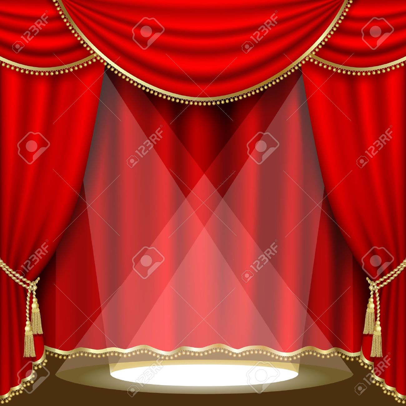 Theater stage with red curtain. Clipping Mask. Mesh. - 11024107