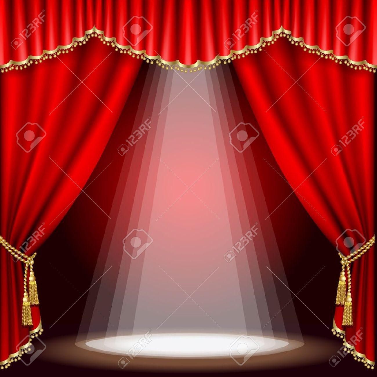 Theater het podium met rode gordijn. clipping mask. mesh. royalty ...