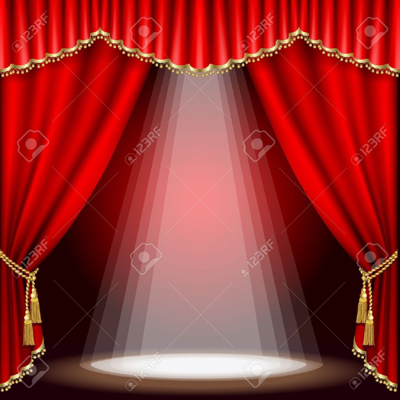 Theater stage  with red curtain. Clipping Mask. Mesh. Stock Vector - 11024106