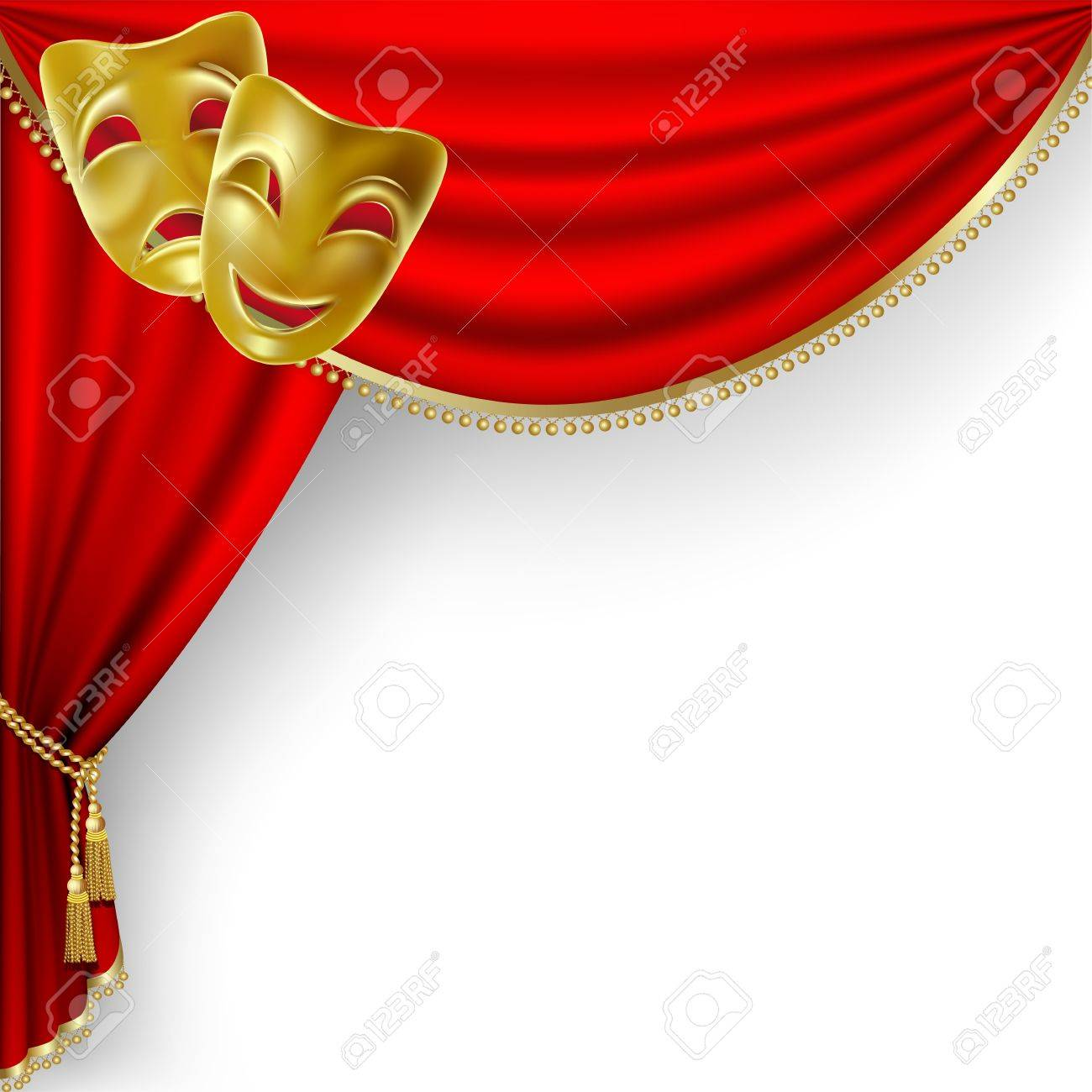 Theatre Curtains And Masks - Theater stage with red curtain and masks stock vector 11218745