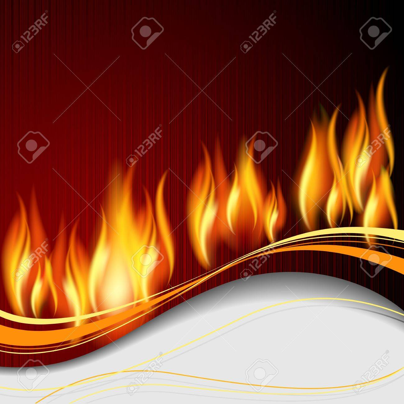Background with flame and white wave. Stock Vector - 11218743
